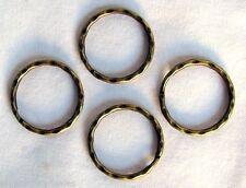 "100 KEY RINGS ~ 25 - 28mm 1"" Split Ring ~ Hammered ~ ANTIQUE BRASS ~ SteamPunk"