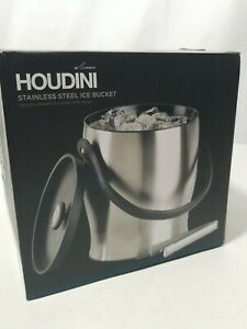 Houdini Deluxe 4 qt Stainless Steel Double Walled Ice Bucket With Tongs