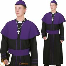 Mens Purple & Black Cardinal Pope Vicar Priest Religious Fancy Dress Costume