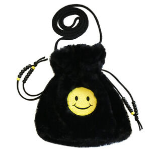 Faux Fury Shoulder Bag, Fun Accessory with Happy Face Emoji Embroidery