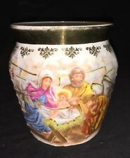 Beautiful Antique German Porcelain Teacup Featuring The Holy Family & Angel
