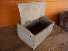 Galvanized Lidded Box Primitive Rustic General Store Farmhouse Flower Planter