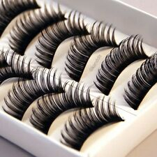 Natural Long Handmade 10 Pairs Black Thick Fake False Eyelashes Lashes Makeup UK