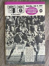1977 VFL AFL football record St Kilda Saints V Carlton Blues July 9 1977