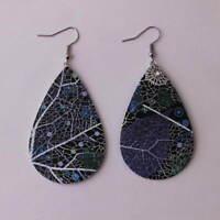 Black Leather Floral Teardrop with Blue Floral/Leaf Print