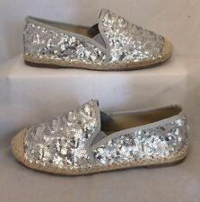 Silver Sequin Beige espadrilles Size 6 Flat Summer Slip On Metallic Holiday
