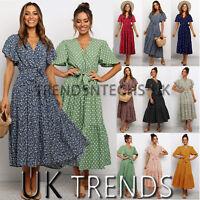 UK Womens Holiday Polka Dots Floral Ladies Maxi Long Beach Dress Summer Print