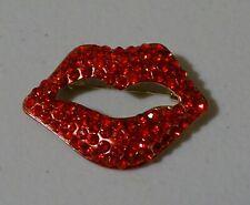 Brooch Pin Brand New Free P&P Rhinestone Red Lips Mouth Crystal Fashion