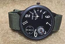 Men's Military Carbon Fiber Look Compass Quartz Big Watch Green Nylon Strap