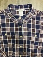Duluth Trading Co Womens Free Swingin' Flannel Med Button Down Shirt Blue EUC!