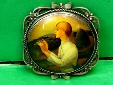 Russian Traditional Woman's Brooch. Author's Work, Signed, Wood in German Silver