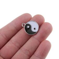 10PC Enamel Tai Chi Yin Yang Ba Gua Charm Pendant Alloy Beads Fit DIY Jewelry