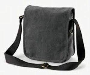 Quadra QD662 Canvas Compact Messenger Bag Charcoal Black