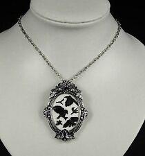 Restyle Halskette & Brosche Cameo Rabe Gothic Victorian Raven Necklace Pin HR15
