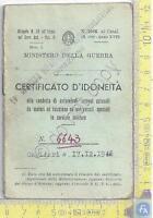Ministero della Guerra - Certificato d'Idoneità (patente) - 1948