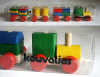 ULTRA RARE VINTAGE KOUVALIAS TRAIN WOODEN GREEK PULL TOY GREECE NEW IN BOX !