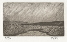 Landscape etching mezzotint abstract silk collograph intaglio hand pulled print
