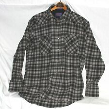 Pendleton Virgin wool Plaid Black Blues & gray Western Wear Shirt Jac, size M
