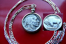 "Excellent Handsome 1937 Buffalo Nickel on  30"" 925 Sterling Silver Chain"