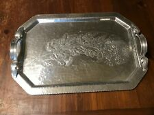 MID CENTURY SERVING TRAY HAND HAMMERED TRADE CONTINENTAL 755 HAND WROUGHT SILVER
