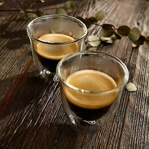 Set of 2 Delonghi Double Wall  Thermo Espresso Cup Glasses 2oz, New