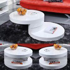 DESIGN CURVE HIGH GLOSS WHITE ROTATABLE COFFEE TABLE