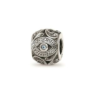 Reflection Beads Sterling Silver Blue CZ Themed Aztec Eye & Pattern Round Bead