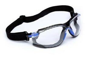3M Solus Safety Glasses S1101SGAF-KT Kit Strap, Foam, Blue, Clear Anti-fog lens