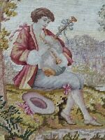 Antique French 18thC Needle Point Hand Embroidered Wall Hanging Panel 55x43cms