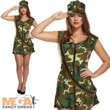 Sexy Army Girl Ladies Fancy Dress Camo Military Uniform Adults Costume Outfit