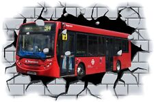 Huge 3D Stagecoach Bus Crashing through wall View Wall Sticker Mural Decal 111
