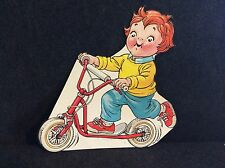 Vintage Campbell Soup Kids Cardboard Store Litho Die-Cut 1980's Kid On Scooter