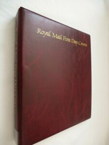 ROYAL MAIL OFFICIAL FIRST DAY COVERS MAROON LUXURY RING ALBUM & 2-POCKET LEAVES