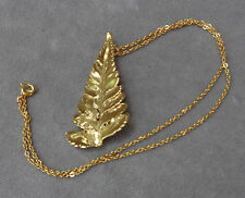 VTG 80s Risis 22k Yellow Gold Plated Leaf from Singapore~Pendant and Pin w/Chain