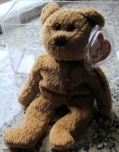 NEW ORIGINAL TY BEANIE BABY CURLY BEAR RETIRED W/ TAG ERRORS 1996 RARE CASE $$$
