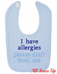 """Personalised / Embroidered Allergy Bib: """"I have allergies"""""""