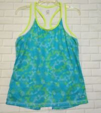 Champion  Duodry Womens Size M Teal Lime Green Athletic Running Tank Top