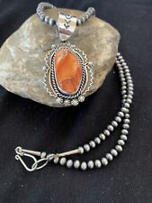Native American Sterling Silver Navajo Pearls Orange Spiny Oyster Pendant 778
