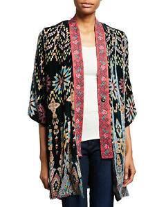 Johnny Was Women's Payden kimono Reversible Silk Multi Jacket Top Medium M NEW