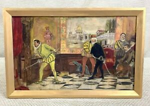 Antique Framed Oil on Board Don Giovani Theatre Play Interior Scene Actors Art