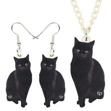 Jewelry Set Fashion Black Cat Necklace Earrings Funny Cool Pendant Women Gift