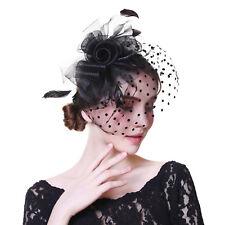 Wedding Party Headpiece Fascinator Flower Hair Clip Feather Headband Cocktail