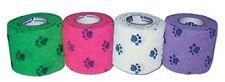 "4 Pack PetFlex Dog Vet Wound Cohesive Bandage Wrap Paw Prints 20 yards x 2"" wide"