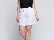 e96b799ea7769 LANE BRYANT WOMEN S WHITE ELASTIC WAIST W  TIE BELT LINEN SHORTS PLUS Sz 18