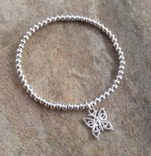 Simple Dainty Butterfly Charm Silver Ball Beaded Stretchy Bracelet Girls Ladies