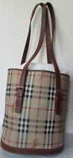 Auth Burberry Plaid Haymarket Shoulder Bag  Brown Handbag