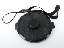 Used 49mm Lens Front Cap Black snap-on type plastic with strap Hong Kong