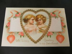 Valentines Day Postcard Love Rose Greeting Sweet Heart Hearts Girl 1910 Embossed