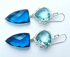 """68-Cts Handcrafted 925 Sterling Silver Multi Quartz Vintage Style Earring=2.50"""""""
