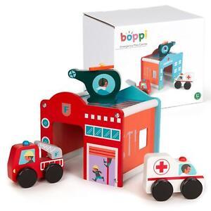 boppi Wooden Toy Fire Station Hospital Helipad Garage Kids Truck Ambulance